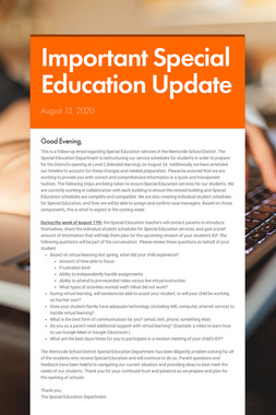 Important Special Education Update