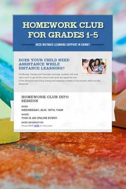 Homework Club for Grades 1-5