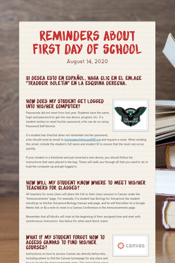 Reminders About First Day of School