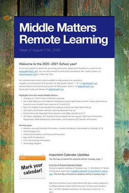Middle Matters Remote Learning