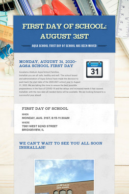 FIRST DAY OF SCHOOL: AUGUST 31st