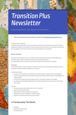 Transition Plus Newsletter