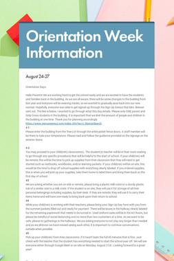 Orientation Week Information