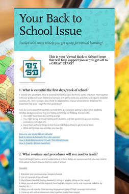 Your Back to School Issue