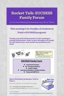 Rocket Talk: SUCSESS Family Forum