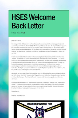 HSES Welcome Back Letter