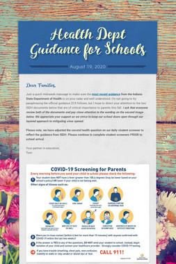 Health Dept Guidance for Schools