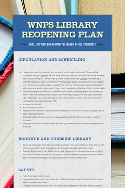 WNPS Library Reopening Plan