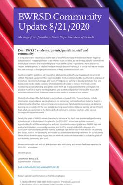 BWRSD Community Update 8/21/2020