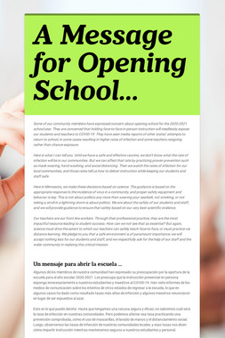 A Message for Opening School...