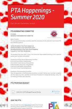 PTA Happenings - Summer 2020