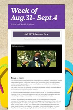 Week of Aug.31- Sept.4