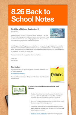 8.26 Back to School Notes