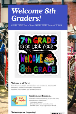 Welcome 8th Graders!