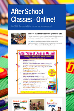 After School Classes - Online!