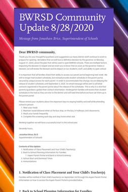 BWRSD Community Update 8/28/2020
