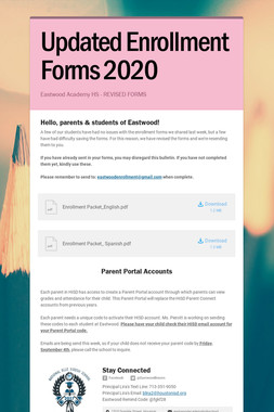 Updated Enrollment Forms 2020