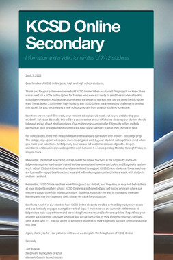 KCSD Online Secondary