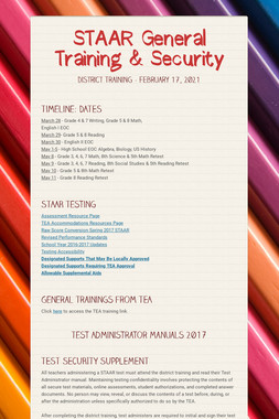 STAAR General Training & Security