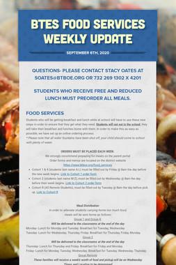 BTES Food Services Weekly Update