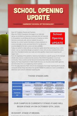 School opening update