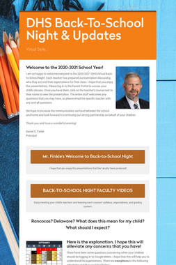 DHS Back-To-School Night & Updates