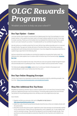OLGC Rewards Programs