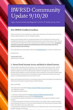 BWRSD Community Update 9/10/20