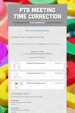 PTA Meeting Time Correction