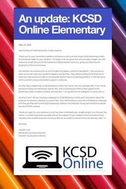 An update: KCSD Online Elementary