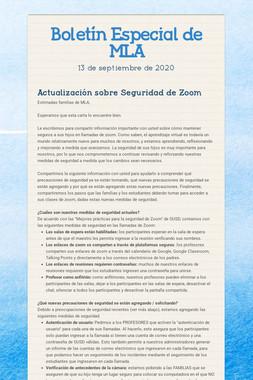 Boletín Especial de MLA