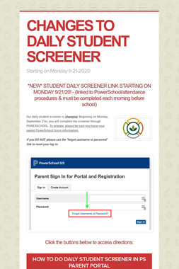 CHANGES TO DAILY STUDENT SCREENER