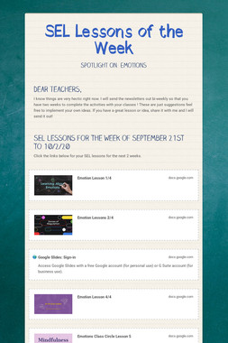 SEL Lessons of the Week