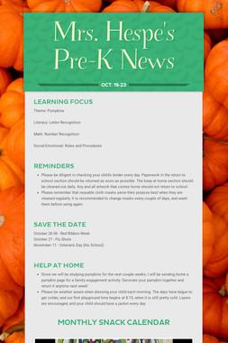 Mrs. Hespe's Pre-K News
