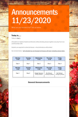 Announcements 11/23/2020