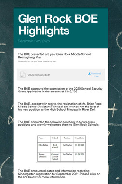 Glen Rock BOE Highlights