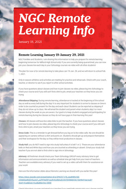 NGC Remote Learning Info