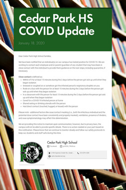 Cedar Park HS COVID Update