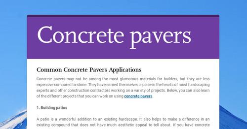 Common Concrete Pavers Applications