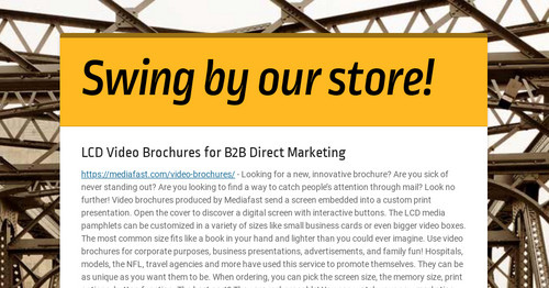 LCD Video Brochures for B2B Direct Marketing