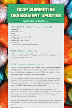 ACAP Summative Assessment Updates