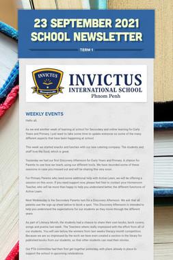 23 September 2021 school newsletter