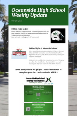 Oceanside High School Weekly Update