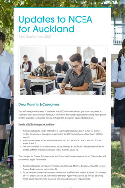 Updates to NCEA for Auckland