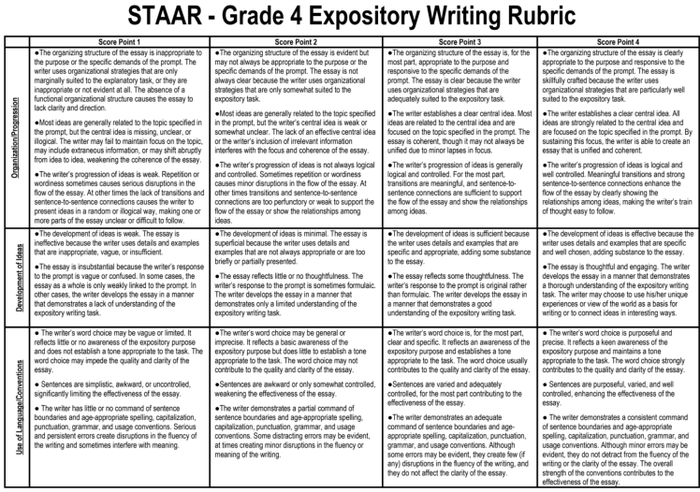 expository writing rubric 7th grade