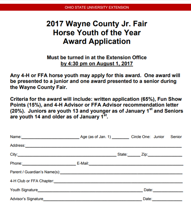 Wayne county 4 h news and notes horse youth of the year award applications due august 1st thecheapjerseys Choice Image