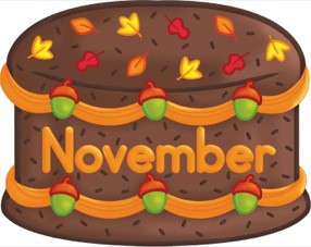 November Birthday Cake Clipart