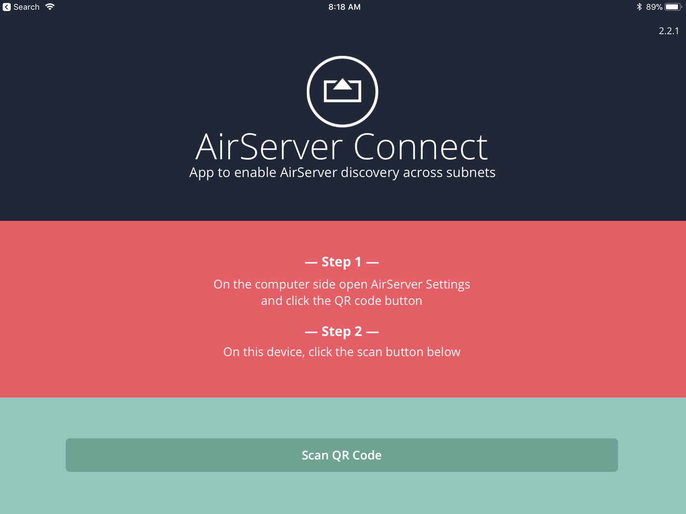 airserver scan qr code