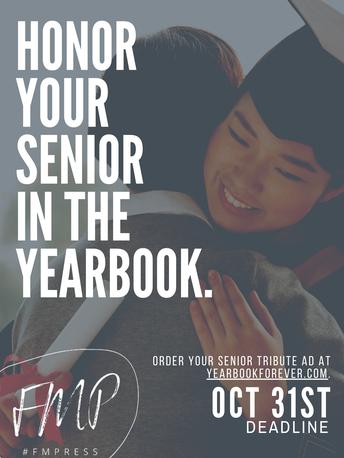 Senior Tribute Ads due Oct 31st