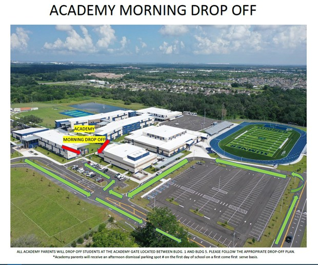 HS and Academy students will follow the green arrows during morning drop off.